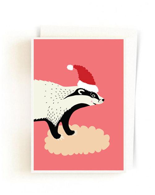 Christmas Forest Cards / Santa Badger